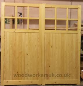 A pair of garage doors in unsorted softwood