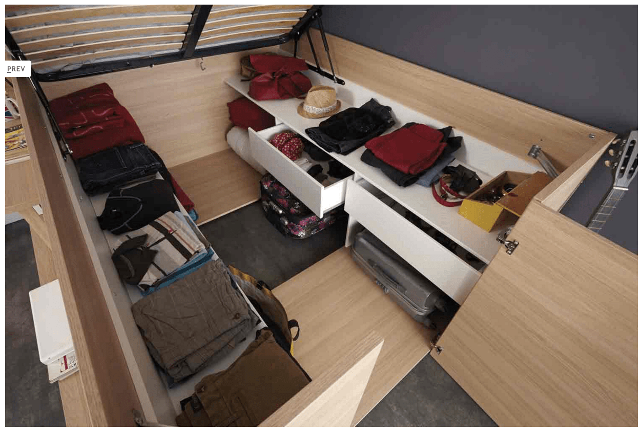 Parisot Space Up Bed Lifts Up For Spacious Storage