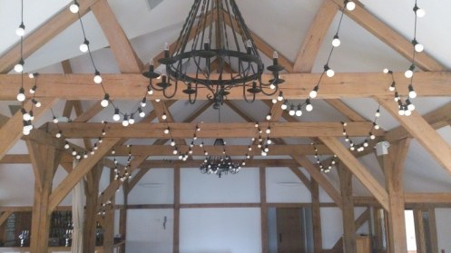 Festoon lights at Sandhole Oak Barn