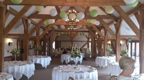 Venue dressing with hanging lanterns