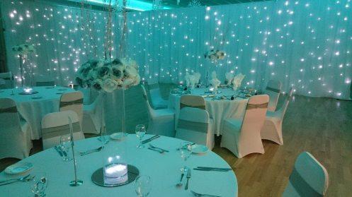 wedding drapes and lighting