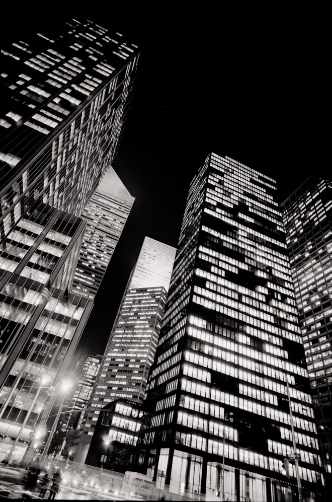 Seagrams Building at night