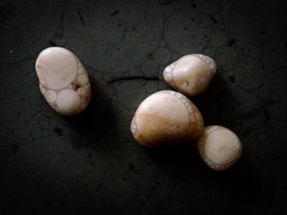 Pebbles on countertop