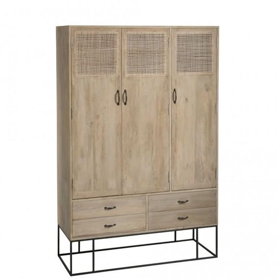 armoire style casier vestiaire 3 portes 4 tiroirs en bois de manguier couleur bois naturel et rotin tisse woodycosy com