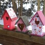 Valentines Day Wooden Decorative Birdhouses Set of 3