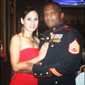 Raquel and Angel at a Marine Corps Ball