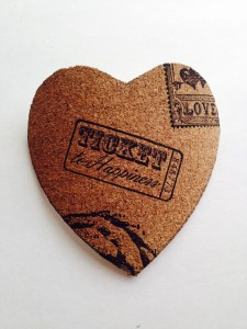 Ticket Stamped Candy Heart Cork Coasters