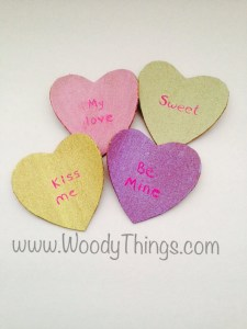 Array of Candy Heart Cork Coasters
