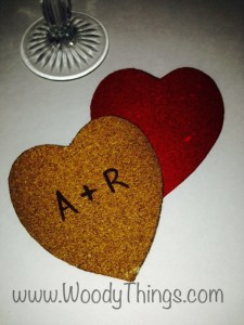 A and R Cork Heart Coasters