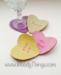 Candy Heart Cork Coasters