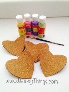 Candy Heart Cork Coasters and paint