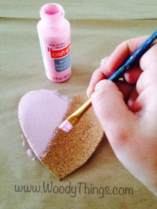 Cork Heart Painted Pink