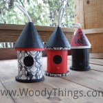 Birdhouses are not just for the outdoors. Make them part of your home décor.  This set of 3 small wooden birdhouses will make the perfect addition to any room! Each one has been hand painted. The birdhouse with the red roof top has been hand stamped with a rose. The other two has had an elegant black and white print decoupaged to it.