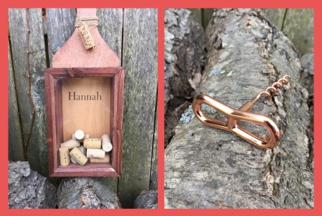 Personalized Wine Corks holder and Copper Corkscrew