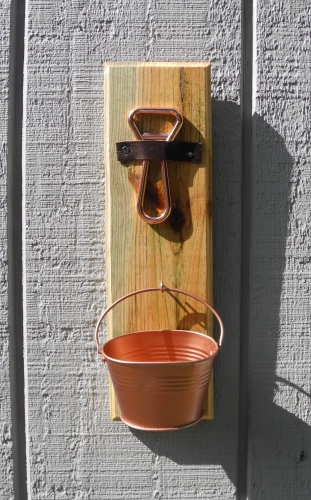 Bottle Cap Holder with Copper Plated Bottle Opener and Tin Bucket