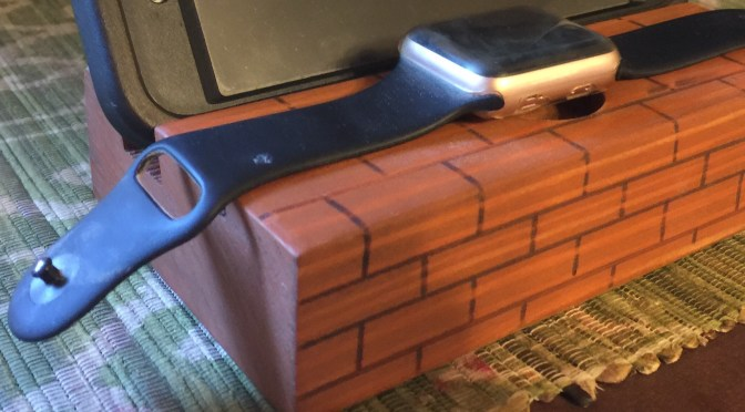 Brick Themed Apple Watch and Smartphone Dock
