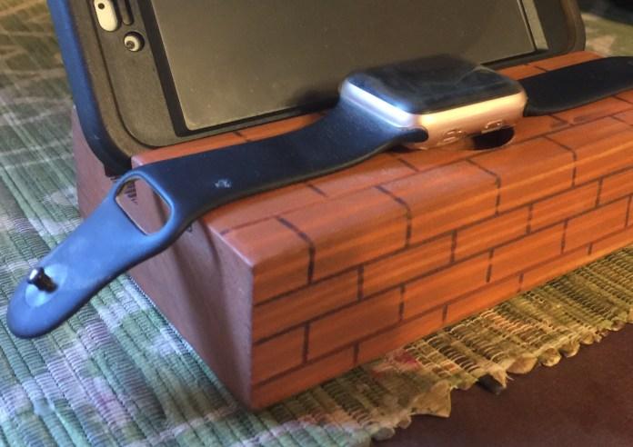 WoodyThings Brick themed Apple Watch Smartphone Dock closeup