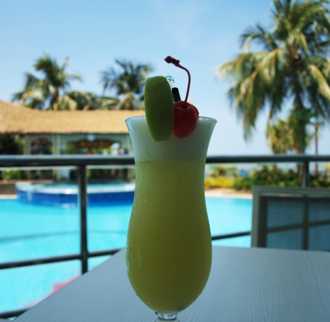 Cocktail by the pool at the Flamingo by the beach hotel in Penang