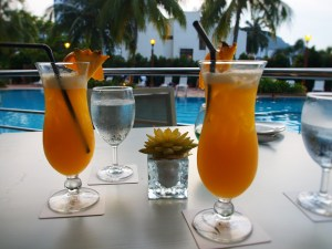 Cocktails at Flamingo by the beach hotel Penang