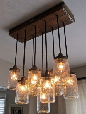 7 Wooden Ceiling Lamp Ideas   Woodz Wood Beam Glass Jar Ceiling Lamp