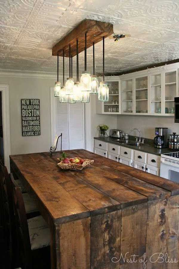 32 Simple Rustic Homemade Kitchen Islands - Amazing DIY ... on Rustic:1Gdhjdx6F3G= Farmhouse Kitchen  id=57804