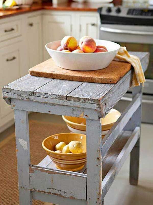 32 Simple Rustic Homemade Kitchen Islands - Amazing DIY ... on Rustic:1Gdhjdx6F3G= Farmhouse Kitchen  id=24068