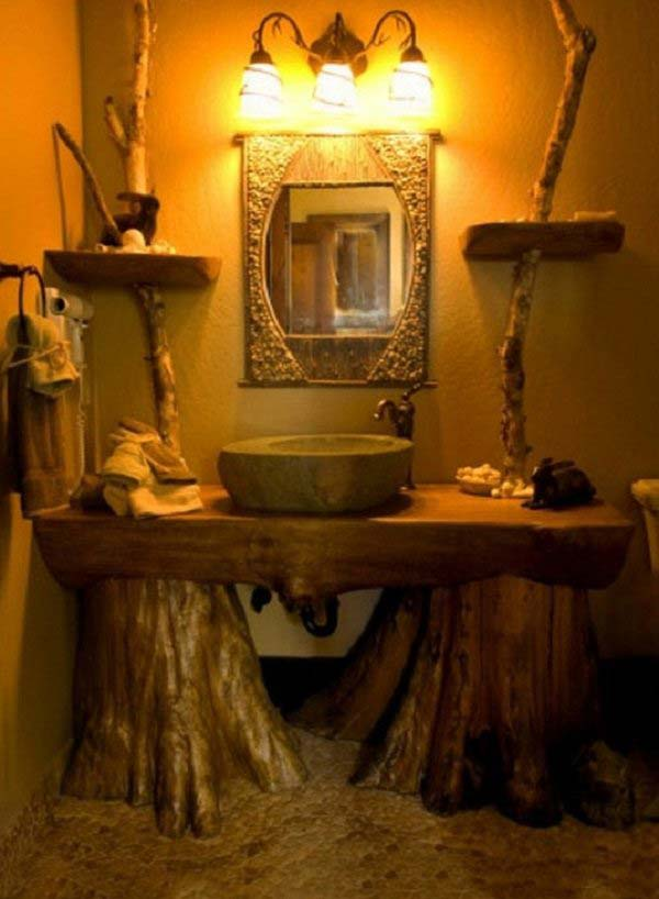 30 Inspiring Rustic Bathroom Ideas for Cozy Home - Amazing ... on Rustic:s9Dkpzirpk8= Farmhouse Bathroom  id=18038