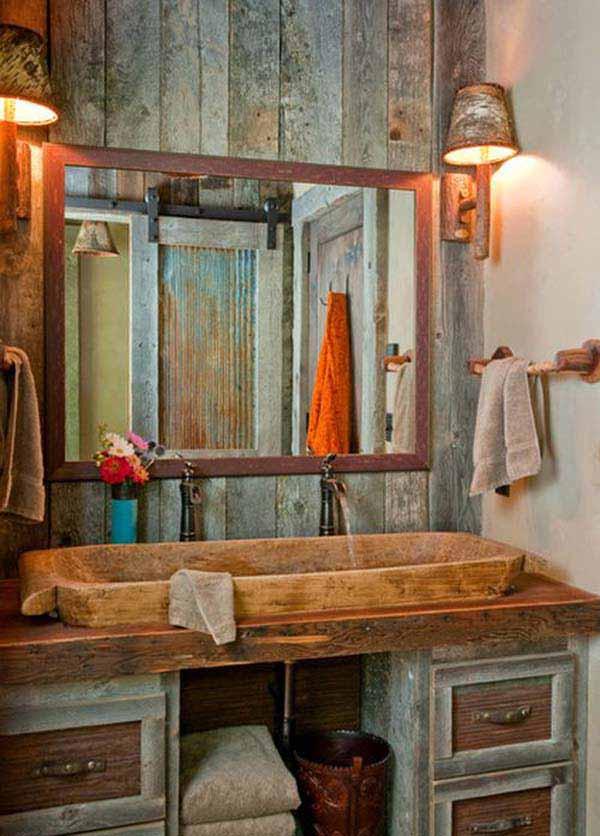 30 Inspiring Rustic Bathroom Ideas for Cozy Home - Amazing ... on Rustic:s9Dkpzirpk8= Farmhouse Bathroom  id=97215