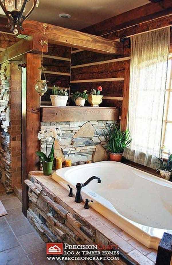 30 Inspiring Rustic Bathroom Ideas for Cozy Home - Amazing ... on Rustic:s9Dkpzirpk8= Farmhouse Bathroom  id=99189