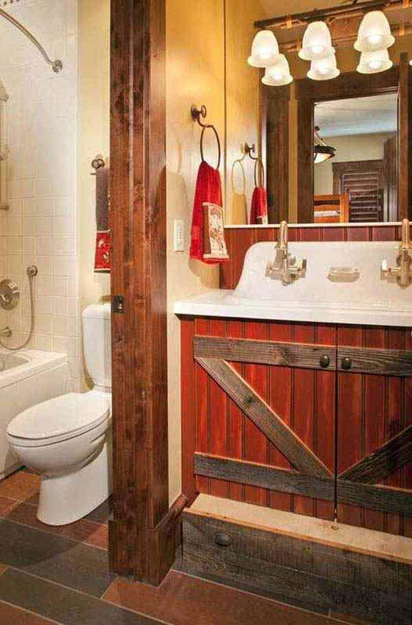 30 Inspiring Rustic Bathroom Ideas for Cozy Home - Amazing ... on Rustic:s9Dkpzirpk8= Farmhouse Bathroom  id=74868