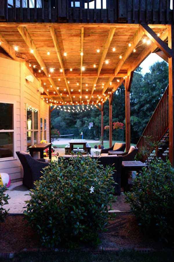 26 Breathtaking Yard and Patio String lighting Ideas Will ... on Backyard String Light Designs id=30594