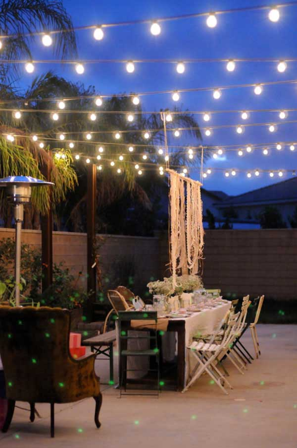 26 Breathtaking Yard and Patio String lighting Ideas Will ... on Backyard Balcony Ideas id=39618