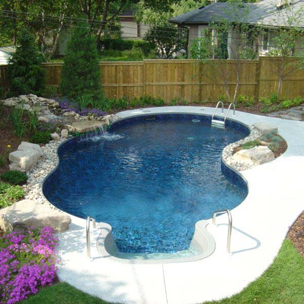 28 Fabulous Small Backyard Designs with Swimming Pool ... on Backyard Pool Landscape Designs id=90969