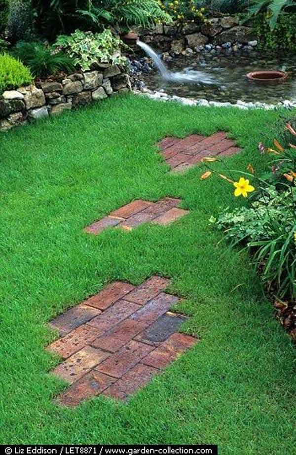 DIY Ideas For Creating Cool Garden or Yard Brick Projects ... on Stepping Stone Patio Ideas  id=45539