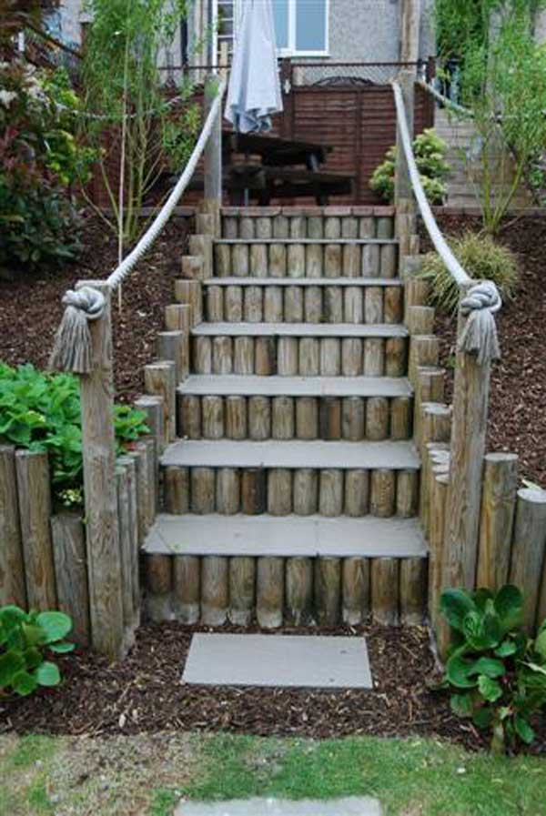 The Best 23 DIY Ideas to Make Garden Stairs and Steps ... on Backyard Stairs Ideas id=28980
