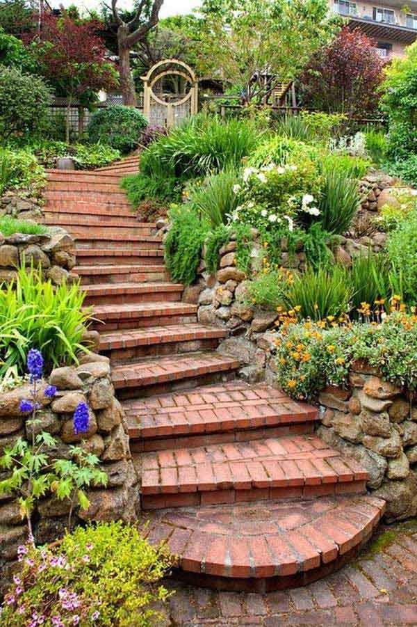 The Best 23 DIY Ideas to Make Garden Stairs and Steps ... on Backyard Stairs Ideas id=41160
