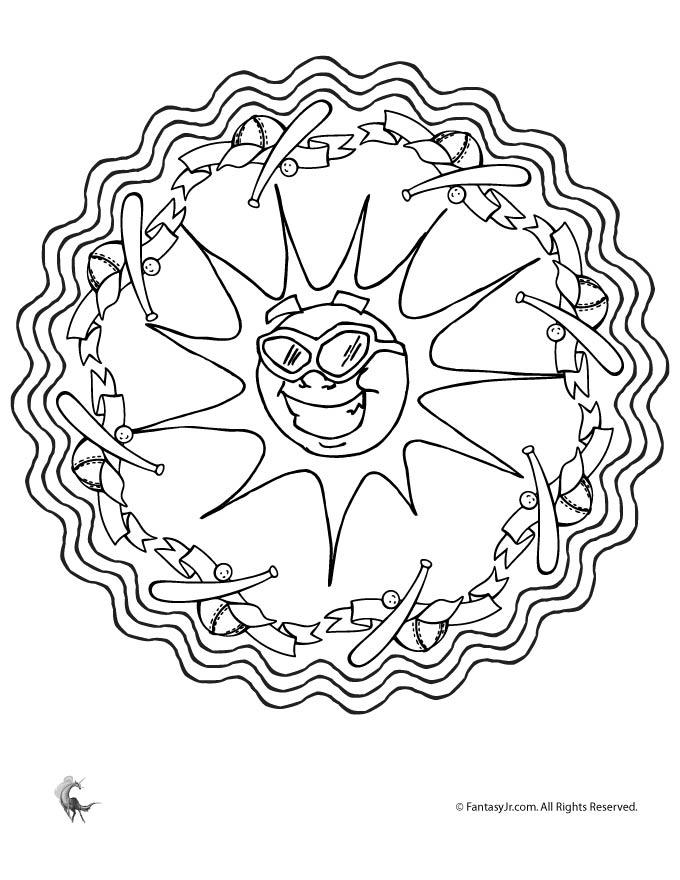 Summer Baseball Sun Mandala Coloring Page Woo Jr Kids