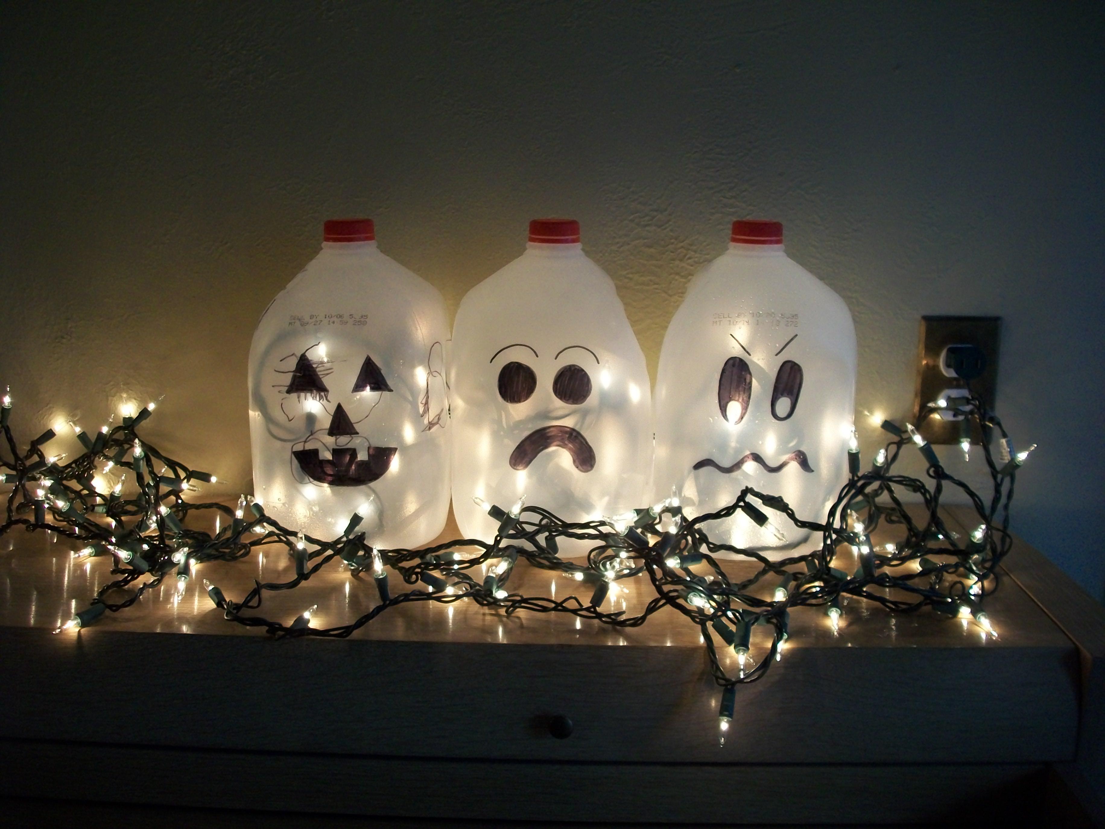 How To Make Milk Jug Halloween Ghost Luminaries