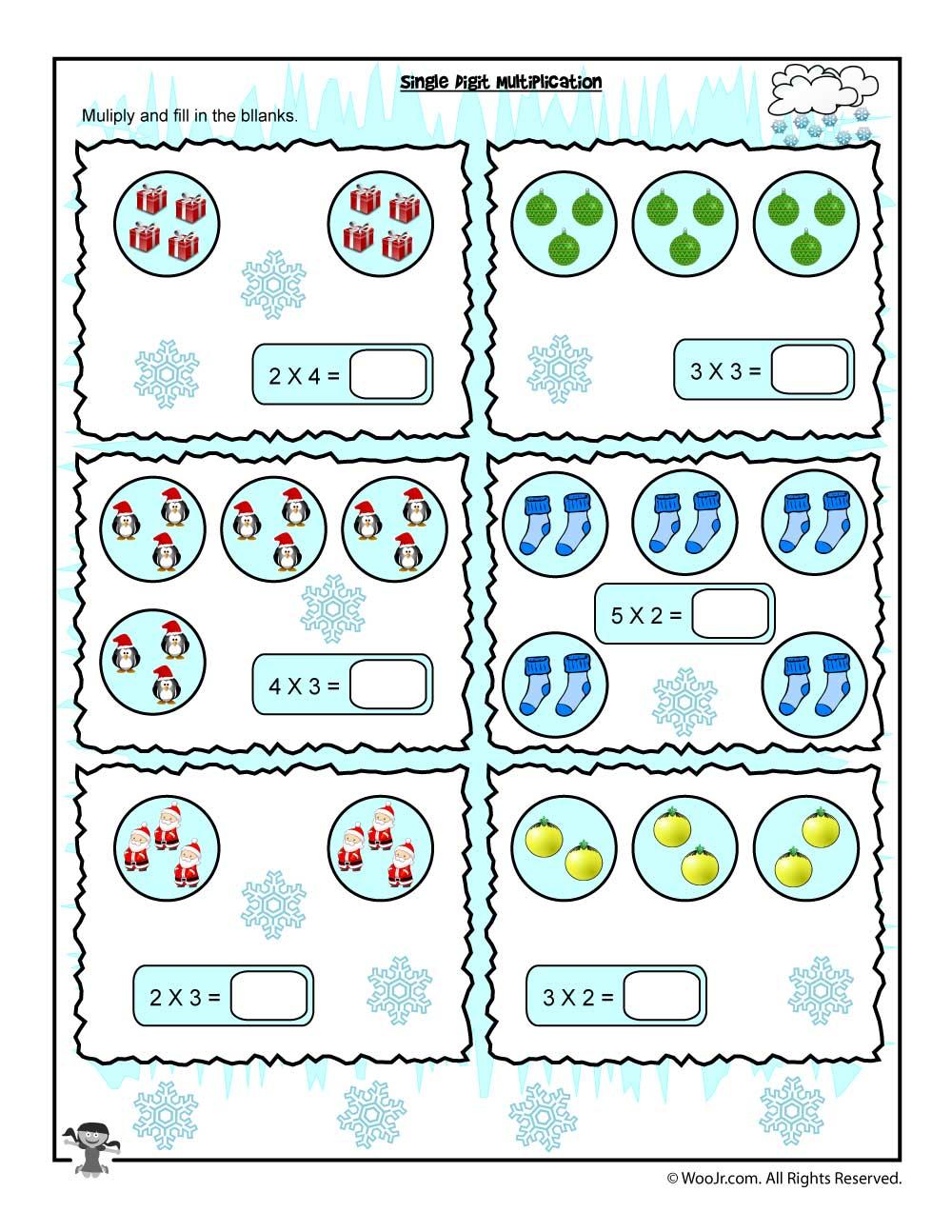 Single Digit Visual Counting Multiplication Worksheet