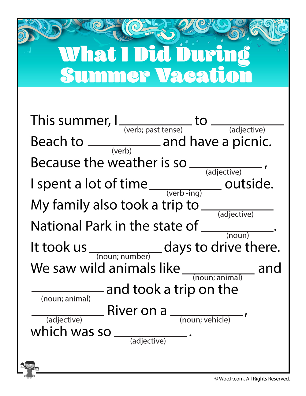 picture relating to Summer Mad Libs Printable identify Summer time Family vacation Insane Libs Leancy Push