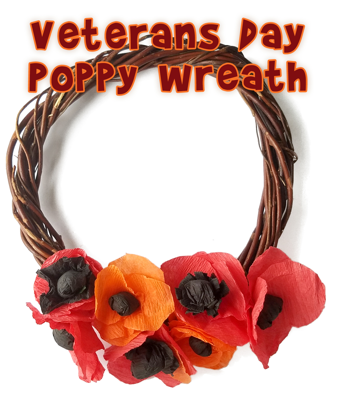 Veterans Day Craft Crepe Paper Poppy Wreath Woo Jr