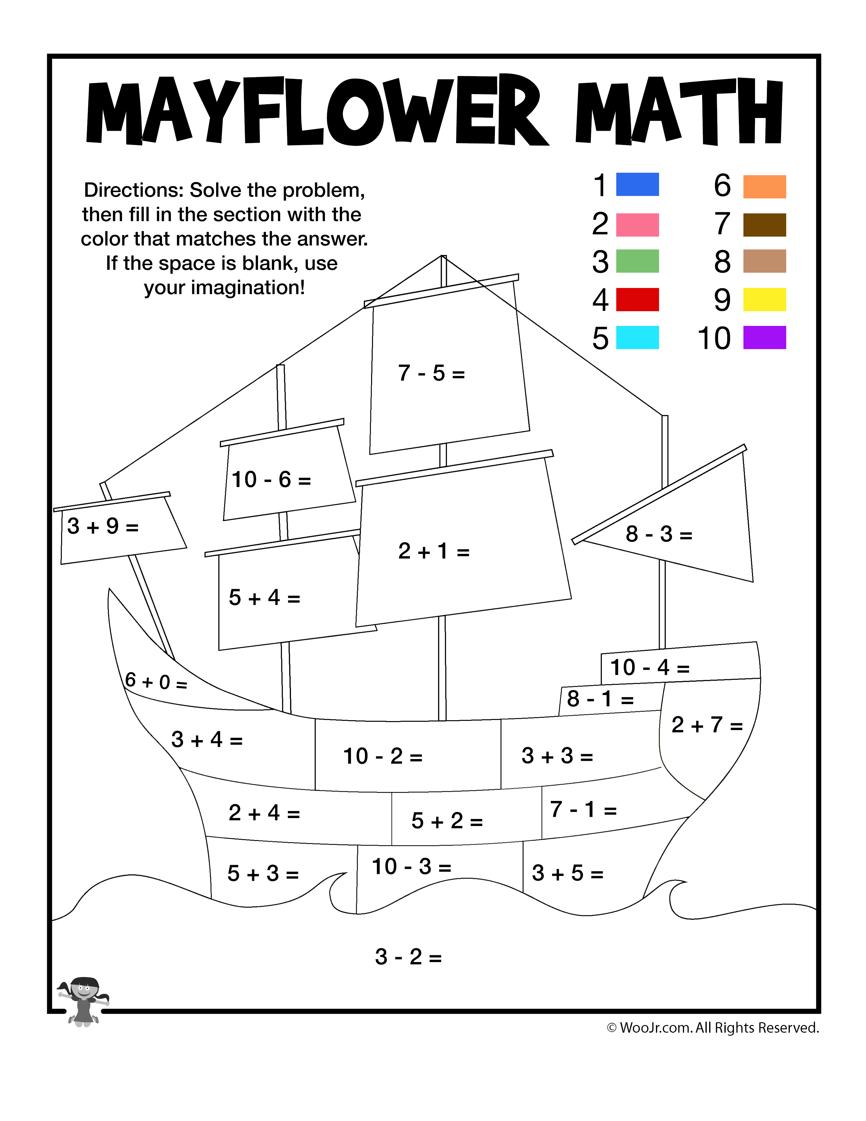 Mayflower Math Coloring Page