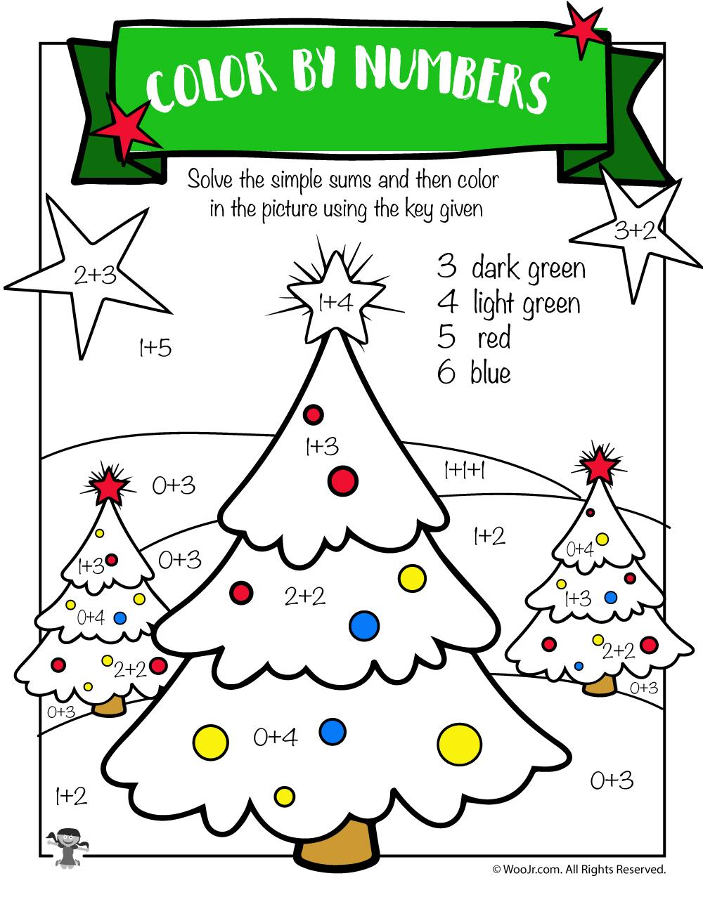 Christmas Tree Math Addition Worksheet