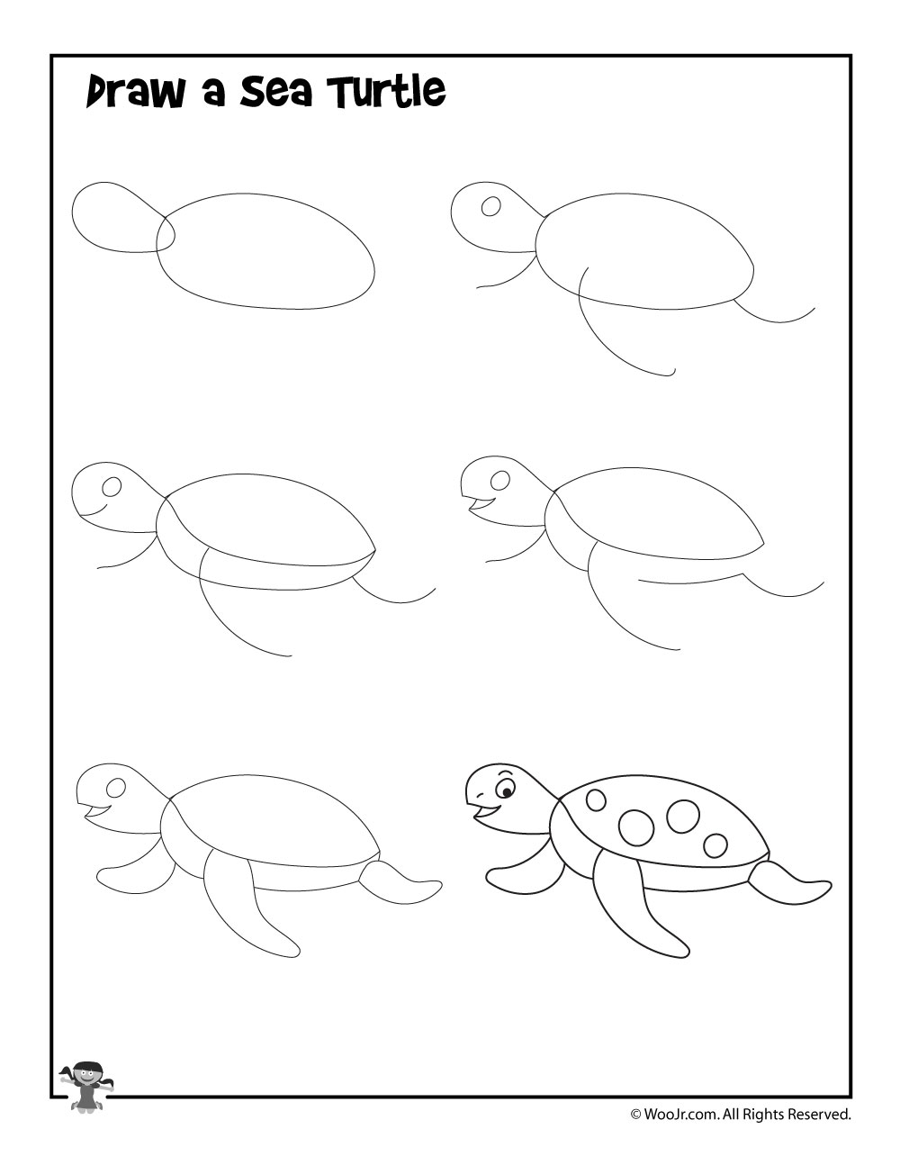 How To Draw A Sea Turtle Woo Jr Kids Activities