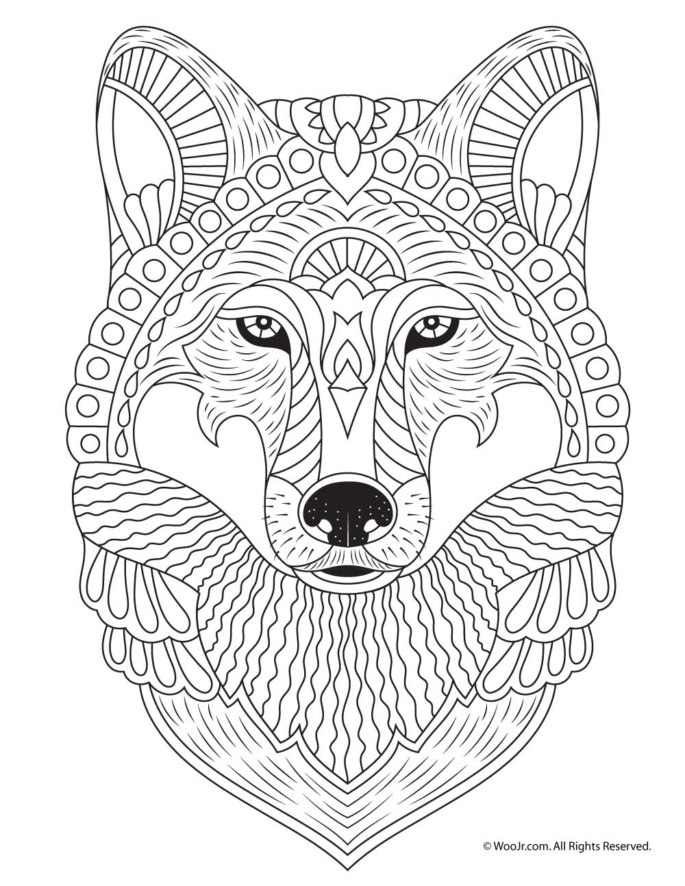 Wolf Adult Coloring Page | Woo! Jr. Kids Activities | printable colouring pages for adults animals