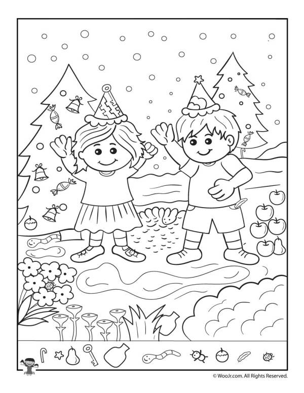 The Kids at Christmas Hidden Picture Page | Woo! Jr. Kids ...