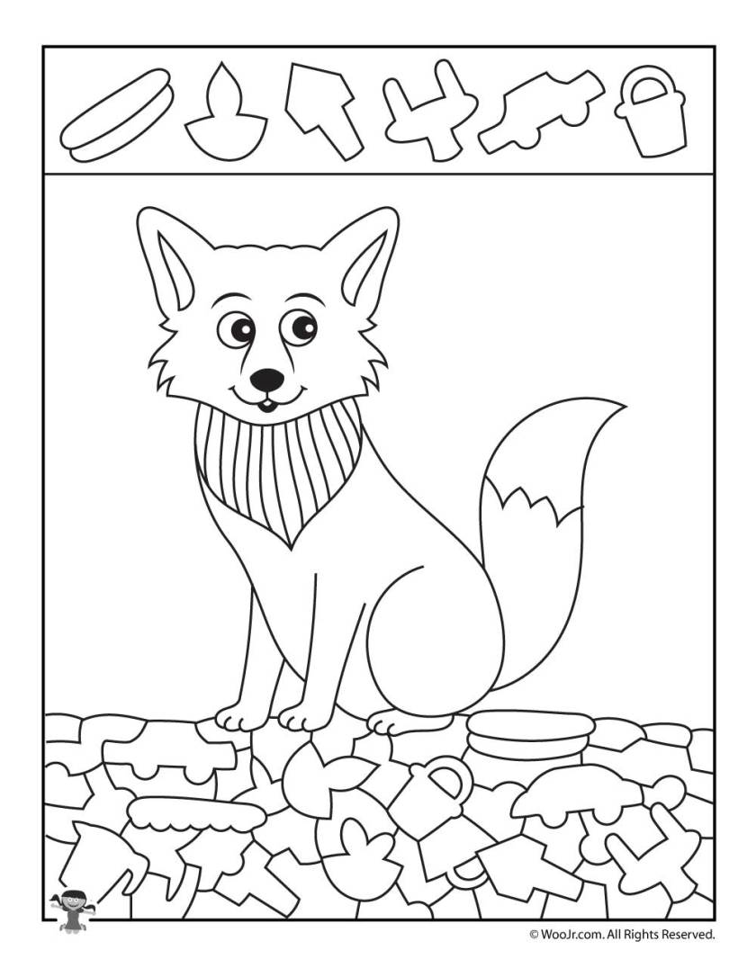 arctic fox hidden picture coloring page  woo! jr. kids