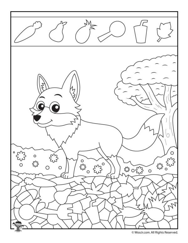 Fox Easy Hidden Picture Page | Woo! Jr. Kids Activities
