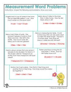 Spring Math Word Problem Worksheets