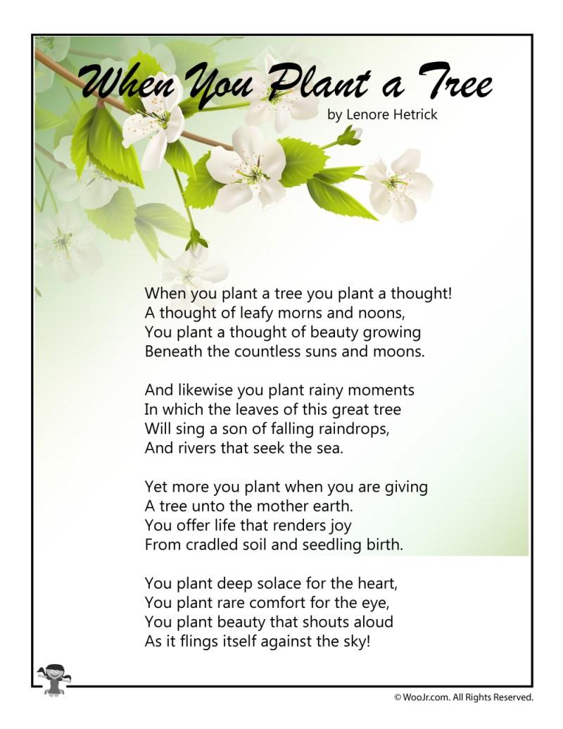 arbor day poems for preschoolers creativepoem co